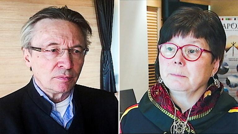 Lars-Anders Baer, ordförande i Luokta Mavas sameby och Gudrun Kuhmunen, Baste čearru