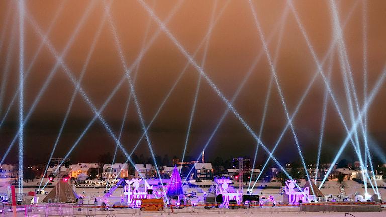 Isscenen vid invigningen av Europas kulturhuvudstad i Umeå 2014. Foto: Marie-Louise Niia/ SVT Sápmi