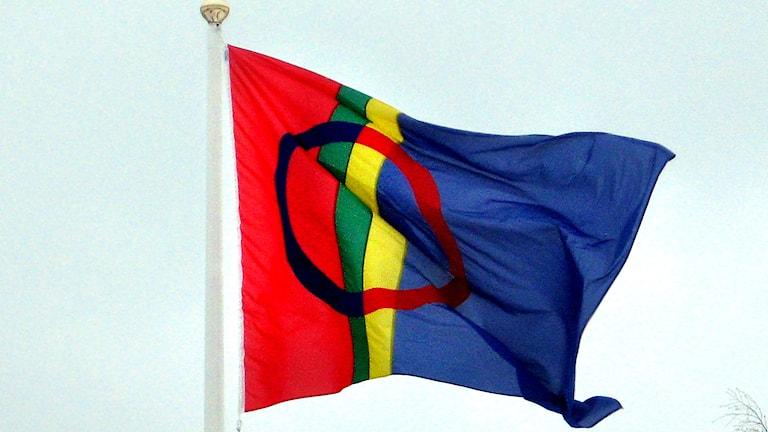 Samiska flaggan. Foto Johanna Vackdal/Sveriges Radio