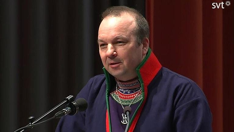 Lars-Jonas Johansson, Landspartiet svenska samer. Foto: Nils-Josef Labba/SVT Sápmi