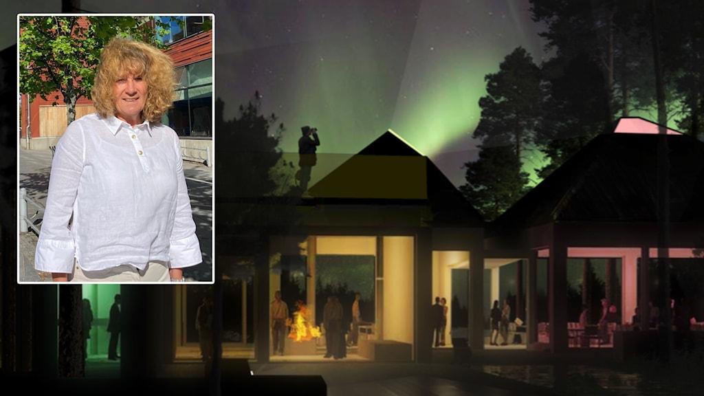 Projektledaren Lena Vikström och animation över Midnattssolens trädgård