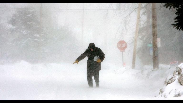 Man i oväder. Foto: Amanda Odeski/ AP/ TT