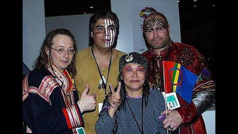 Pontares gäng i Melodifestivalen år 2000: Johan Sara Jr., Ken Roulette och Kasaluk. Foto: Thomas Sarri/Sameradion