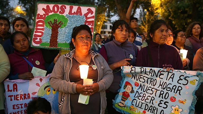 Manifestation inför klimatmötet i Lima i Peru, söndag 30 november 2014. Foto: Martin Mejia/ AP/ TT