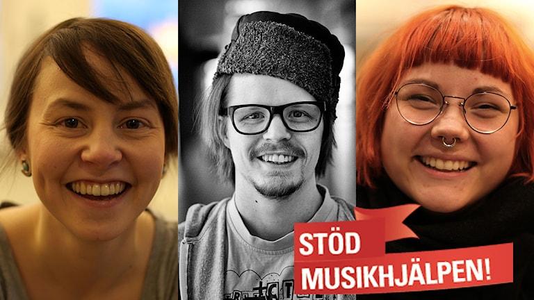 Lea Simma, Per-Josef Idivuoma och Merethe Kuhmunen är programledare i Sápmi hjälper Musikhjälpen. Foto: Lisa Marie Kristensen och Hans-Olof Utsi