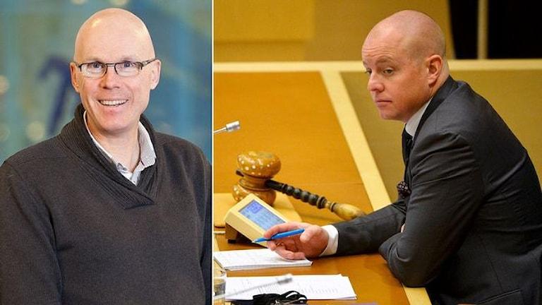 Pontus Mattsson, politisk reporter på SVT och Björn Söder (SD), andre vice talman i riksdagen. Foto: Göteborgs universitet/ TT