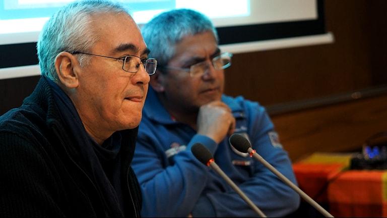 Jorge Calbucura och Carlos Contreras Painemal. Foto Lari Honkanen/Sameradion