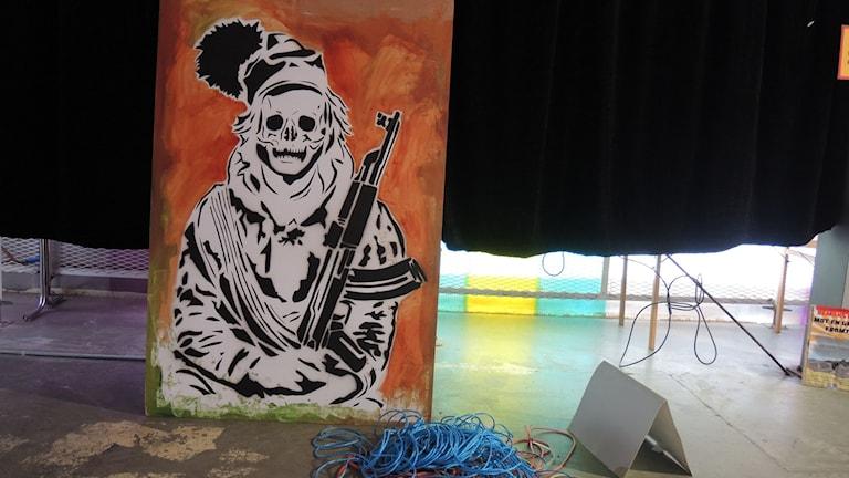 Ett av konstverken i utställningen Gállok protest art. Foto: SR Sameradion