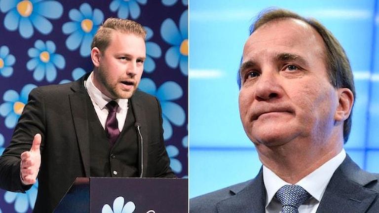 Mattias Karlsson (SD) och Stefan Löfven (S). Foto: TT