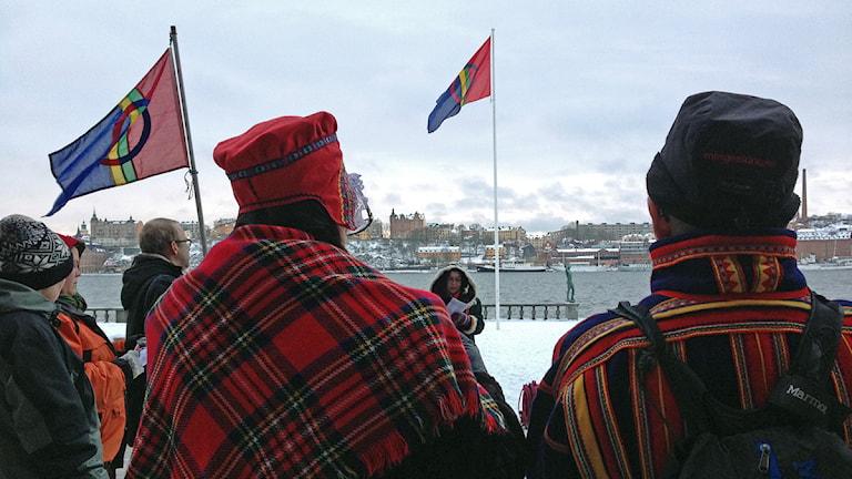 Samiska nationaldagen firas vid stadshuset i Stockholm. Foto: Jörgen Heikki / Sameradion & SVT Sápmi