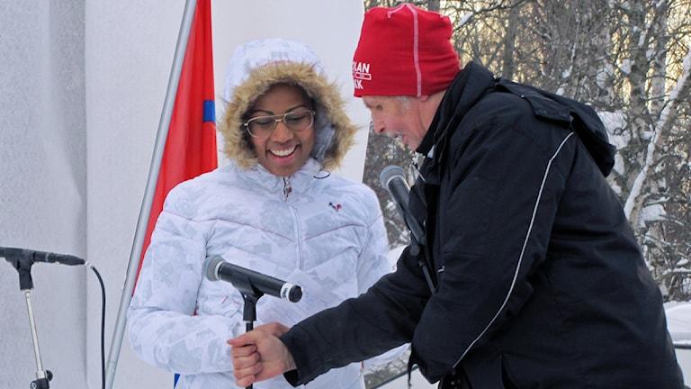 Alice Bah Kuhnke deltog i firandet av samiska nationaldagen i Jokkmokk. Foto: Lisa Utsi / Sameradion & SVT Sápmi