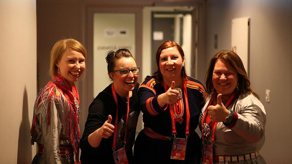 Marja Påve, Marit Kuhmunen, Marica Blind och Jenny Israelsson-Skoglund. Foto: Sameradion & SVT Sápmi