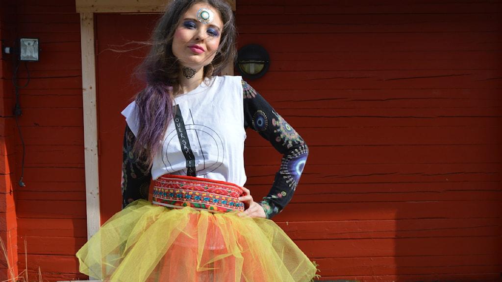 Elise Embla Scheele blev stylad för Pride paraden. Foto: Merethe Kuhmunen