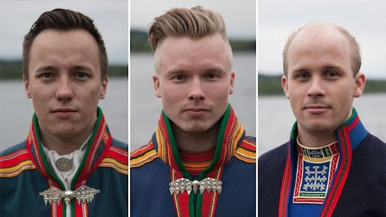 Isak Utsi, Olov Anders Sikku, Magnus Antaris Sandström har skrivit debattartikeln på SVT Opinion. Fotokollage: SVT