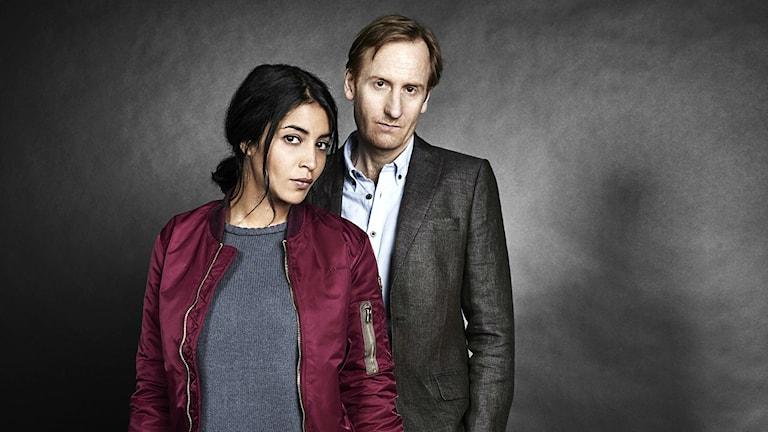 Huvudrollsinnehavarna i filmen Midnattsol Leïla Bekhti och Gustaf Hammarsten. Foto: Jerome Bonnet/Canal+