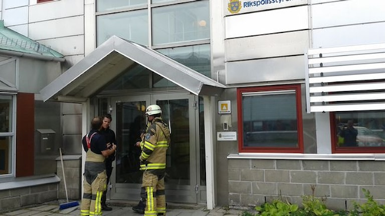 Polislokaler evakueras i Kiruna. Fot: SVT Norrbotten