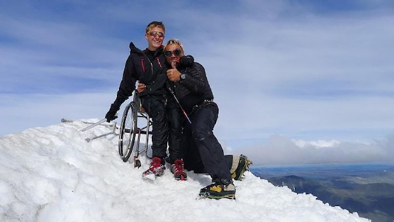 Aron Anderson på Kebnekaise med rullstol 2013. Foto: Lina Tesch.