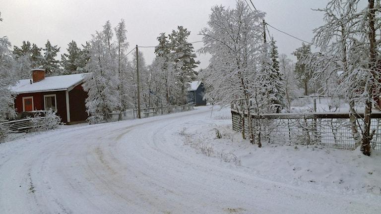 Vägen genom byn Suijavaara. Foto: Lars-Ola Marakatt/Sameradion & SVT Sápmi