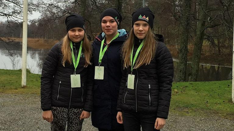 Ella Hansson, elev, Anna Sunna, lärare & Lova Aira, elev från Sameskolan i Jokkmokk. Foto: Privat