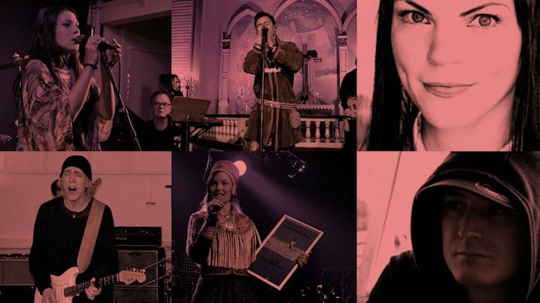 Katarina Barruk, Jon Henrik Fjällgren, Sara Marielle Gaup Beaska, Frihiof, Sofia Jannok, Kitok. Foto: Sameradion & SVT Sápmi och pressbild