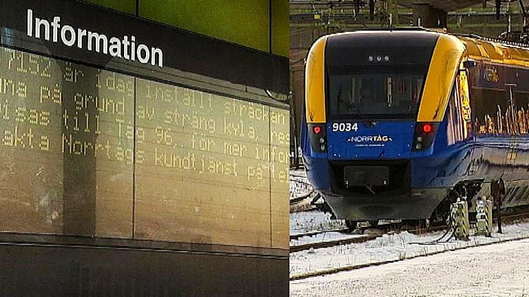 Inställda tåg på grund av kyla. Foto: SVT