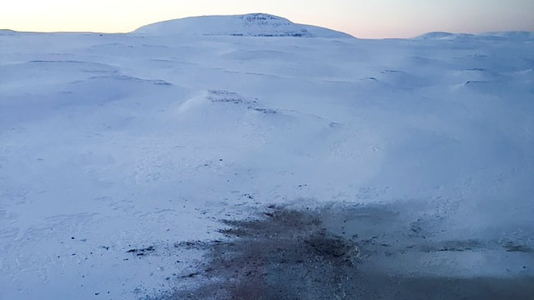 Nedslagsplatsen för det havererade planet. Foto: Marja Påve/ Sameradion & SVT Sápmi