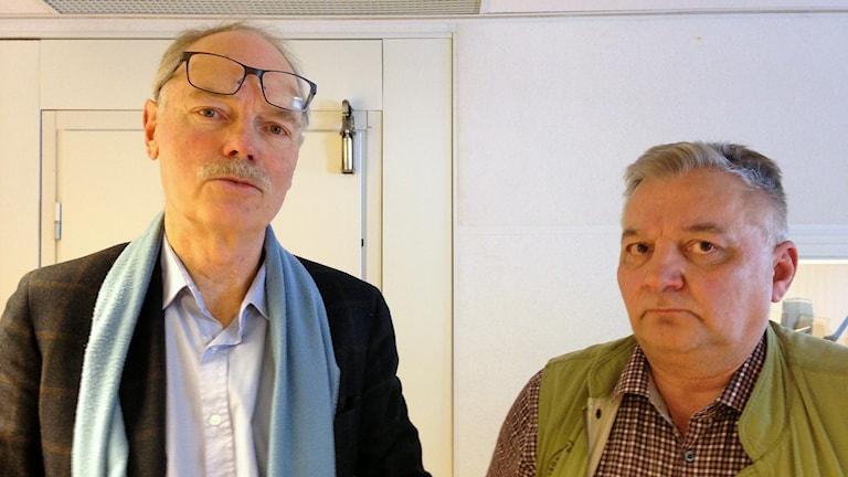 Girjas mot staten: Anders Iacobeus och Hans Geibrink för Jägareförbundet. Foto: Sameradion & SVT Sápmi