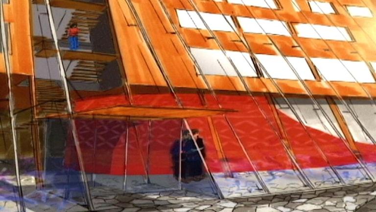 Skiss på Sametingets parlamentsbyggnad.