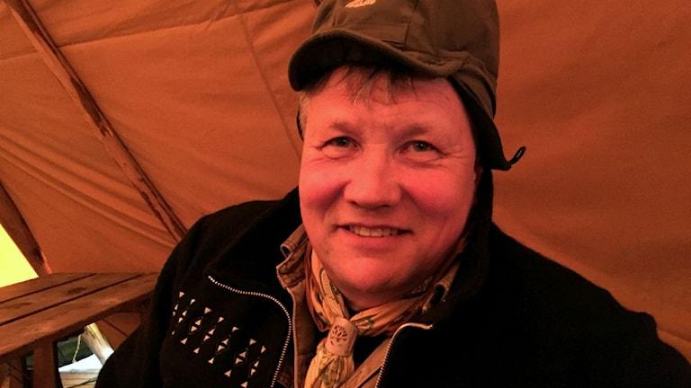 Benny Jonsson i lavvun i Funäsdalen