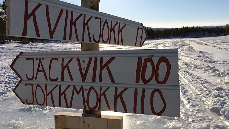 20 mil ska de tävlande i Nordenskiöldsloppet avverka. Här kommer de inte att passera utan vändpunkten kommer vara i Guosak, Granudden.