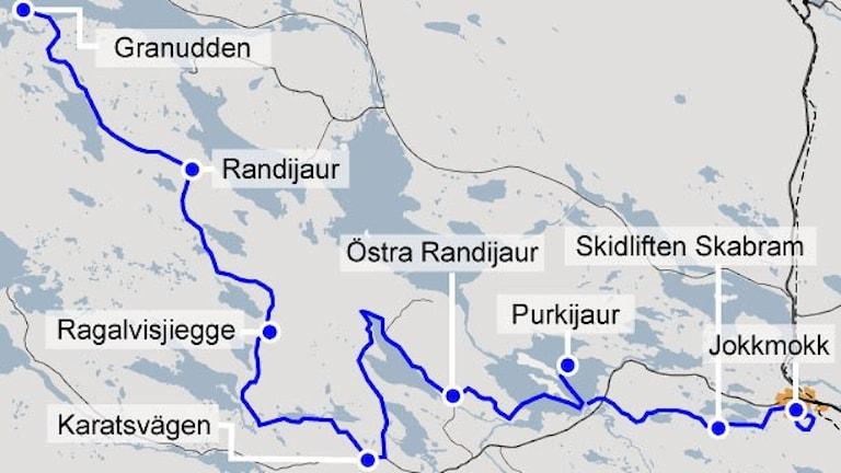 Karta Nordenskiöldsloppet