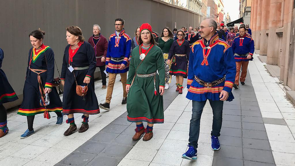 SSR:s ordförande Åsa Larsson Blind på väg til riksdagshuset tillsammans med SSR-medlemmar.