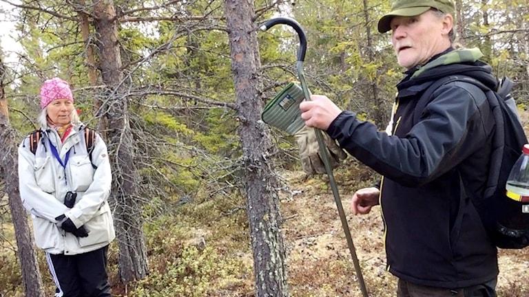 Arkeologen Bernt Ove Viklund visar samiska lämningar utanför Sollefteå.