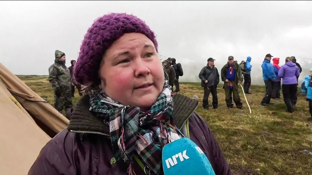 Sara Ajnnak under manifestationen i Nása, Nasafjäll