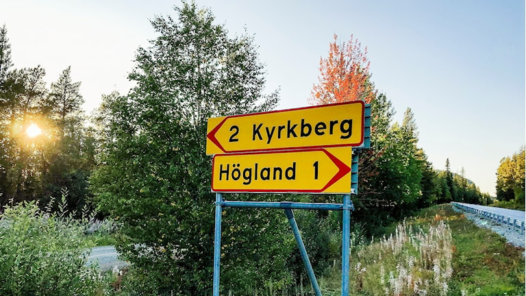 Vägskylt Kyrkberget i Storuman