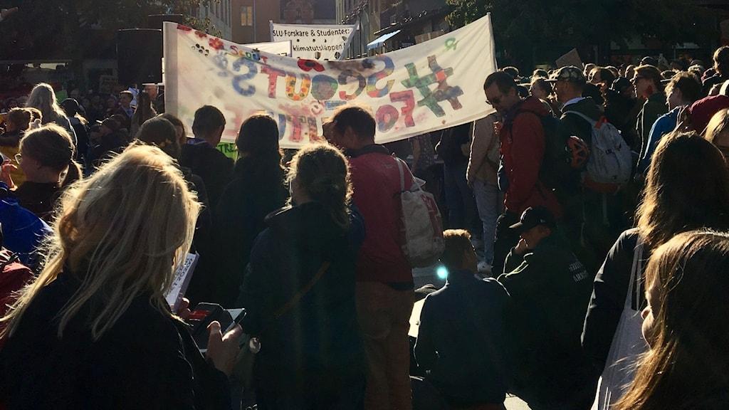 Massa folk står på ett torg, vissa håller upp en banderoll.