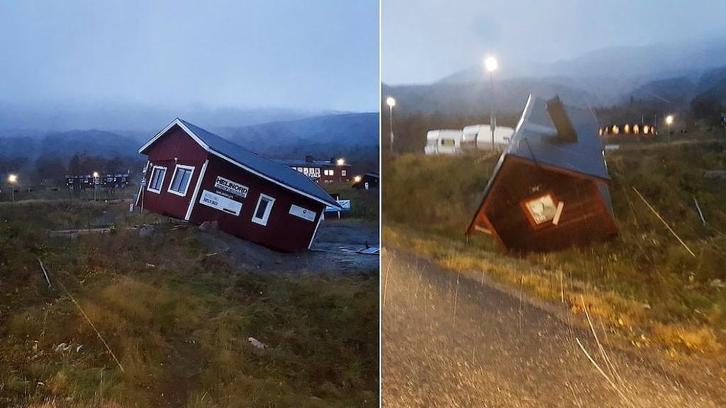 Två hus blåste iväg i Kittelfjäll