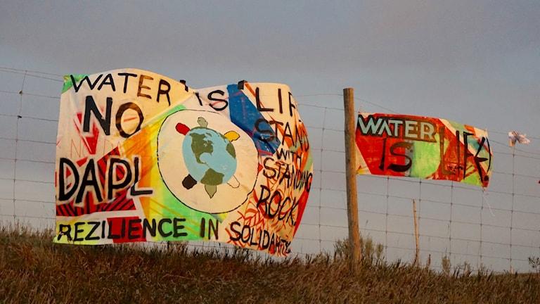 Protester mot oljeledningen i North Dakota,