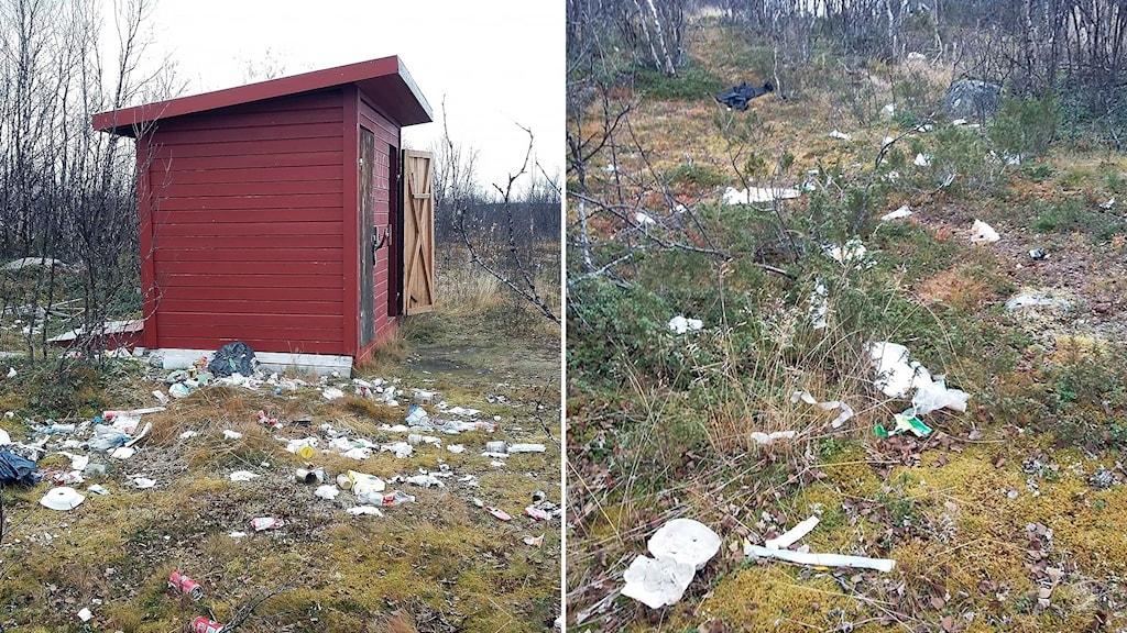Skräpigt vid Jorggástat/ Jårkastaka i Kiruna kommun, vid Lainioälven. Sopor, nedskräpning i naturen, skräp, skräpigt.