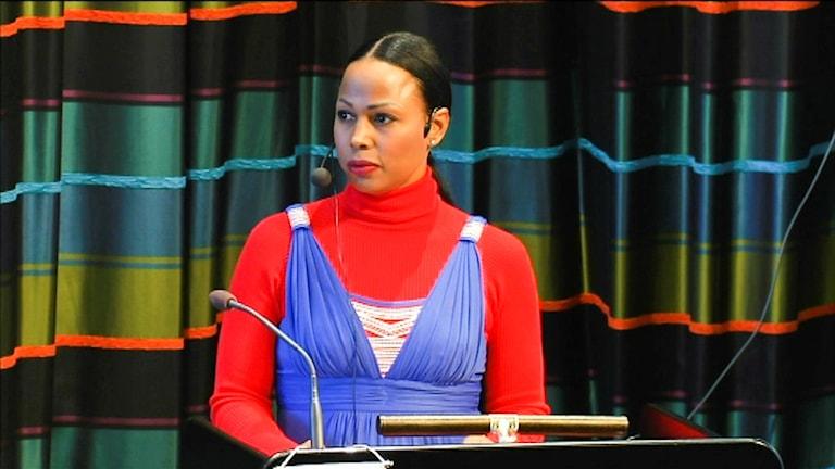 Alice Bah Kuhnke håller tal på Sametingets invigning