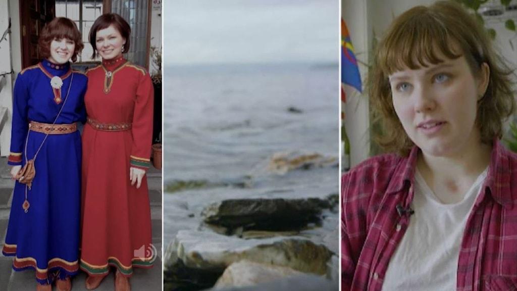 Tredelad blid. Till vänster: två kvinnor i samiska kolt, en blå en röd. Mitten: stenar i förgrunden och stort vatten Till höger: kvinna med brunt hår, lugg vid t-shirt och röd uppknäppt skjorta.
