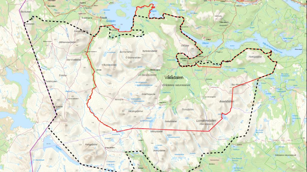 Karta över den planerade nationalparken i Jämtland (Sylarna-Helags-Vålådalen).