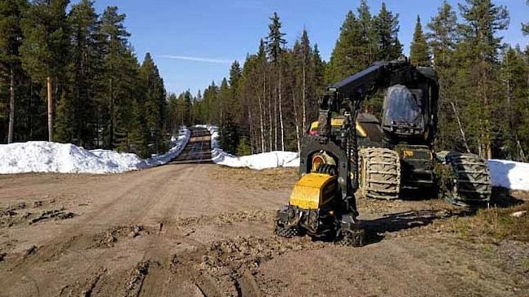 Skogsmaskinen står stilla vid Unna-Skárják i Arjeplogs kommun.
