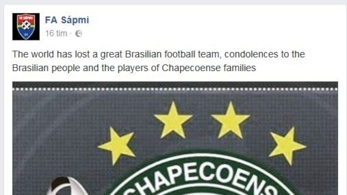 FA Sápmis kondoleanser till fotbollslaget Chapecoense.