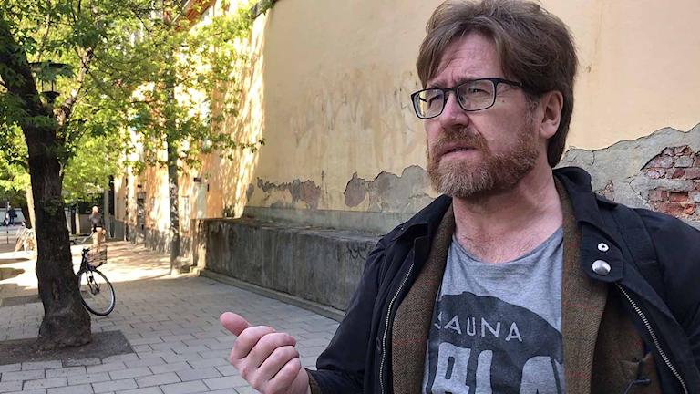 Här vill historikern Peter Ericson ha Elsa Laulas torg, intill Klara kyrka i Stockholm.
