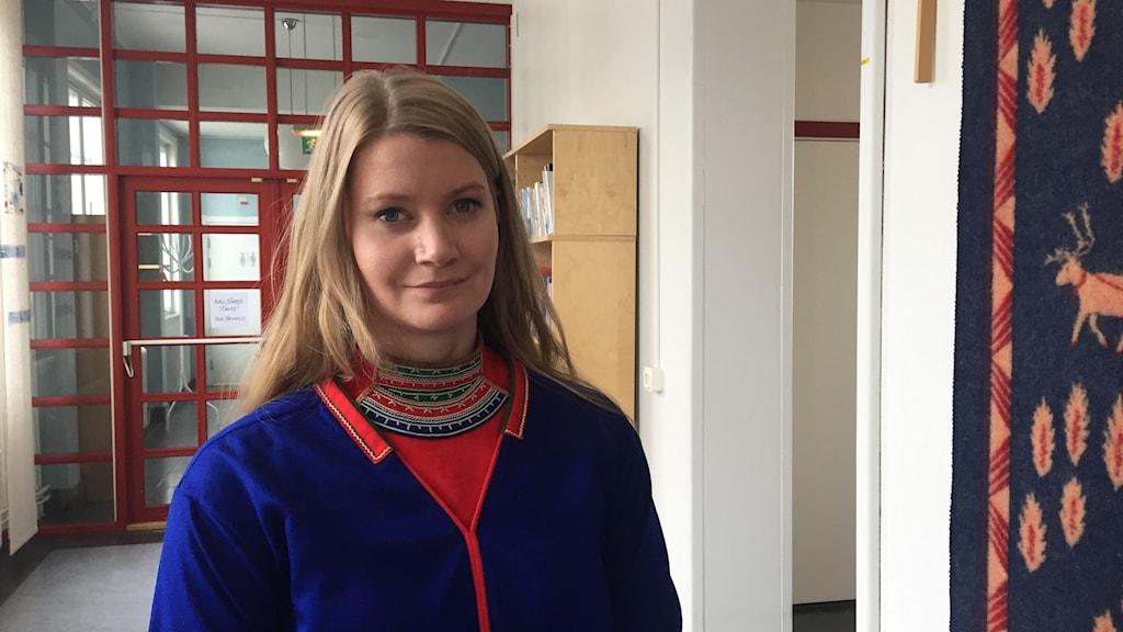 Josefina Skerk efter mötet med expertkommittén i Kiruna. Foto Mikaela Sjöstedt/ Sameradion & SVT Sápmi