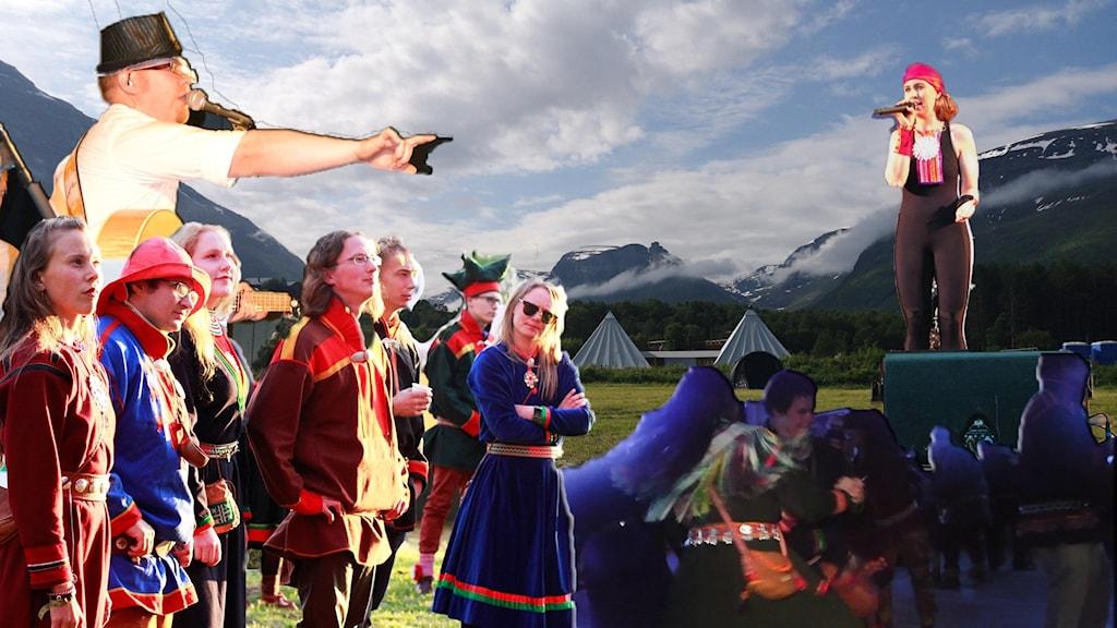 Kollage av festivalbilder från Sápmi.