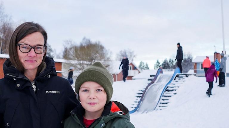 Angelica Olofsson Kraft och Ossian Kraft på Södermalmsskolan i Lycksele
