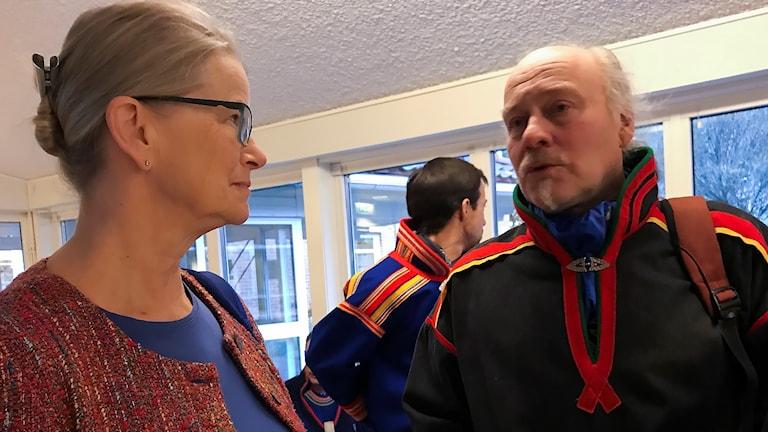 JK Anna Skarhed och Girjas ordförande Matti Berg under hovrättsförhandlingarna i Umeå i Girjasmålet