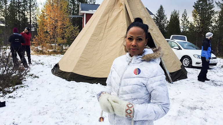 Kultur- och demokratiministern miljöpartisten Alice Bah Kuhnke i Kallak
